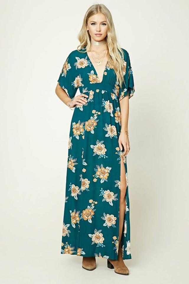 56c3868886 green Maxi Dress by Forever 21 Floral V-neck Kimono Boho Festival Image 6.  1234567