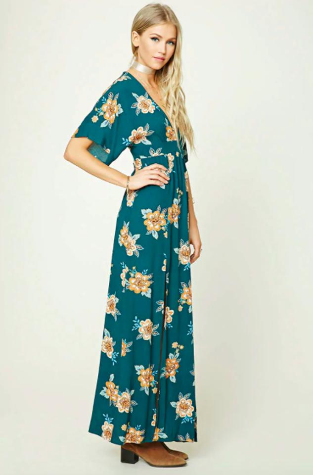 47eb916e65 Forever 21 Green Floral Print M Slit Long Casual Maxi Dress Size 4 ...