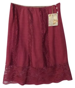 Odd Molly Silk Lace Tag New Skirt Vintage Rouge