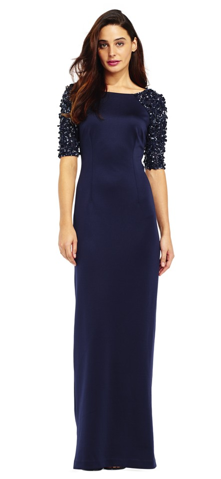 Adrianna Papell Navy Beaded Stretch Column Gown Sequin Sleeve Long ...