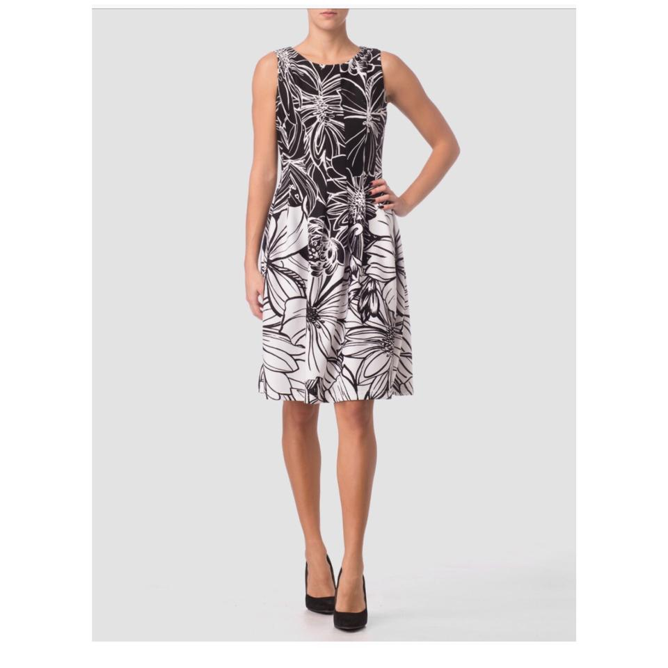 Joseph Ribkoff Black and White Print Mid-length Night Out Dress Size ...