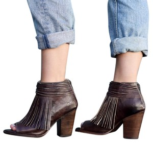 Bed|Stü Olivia Fringed Red Leather Boho Brown Rustic Boots