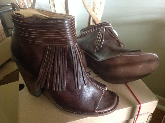 Bed|Stü Olivia Fringed Red Leather Boho Brown Rustic Boots Image 1