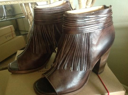 Bed|Stü Olivia Fringed Red Leather Boho Brown Rustic Boots Image 5