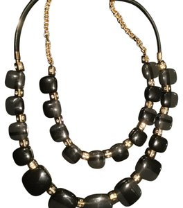 Kate Spade Kate Spade Variegated Black Stone, Gold and rhinestone double-tier necklace
