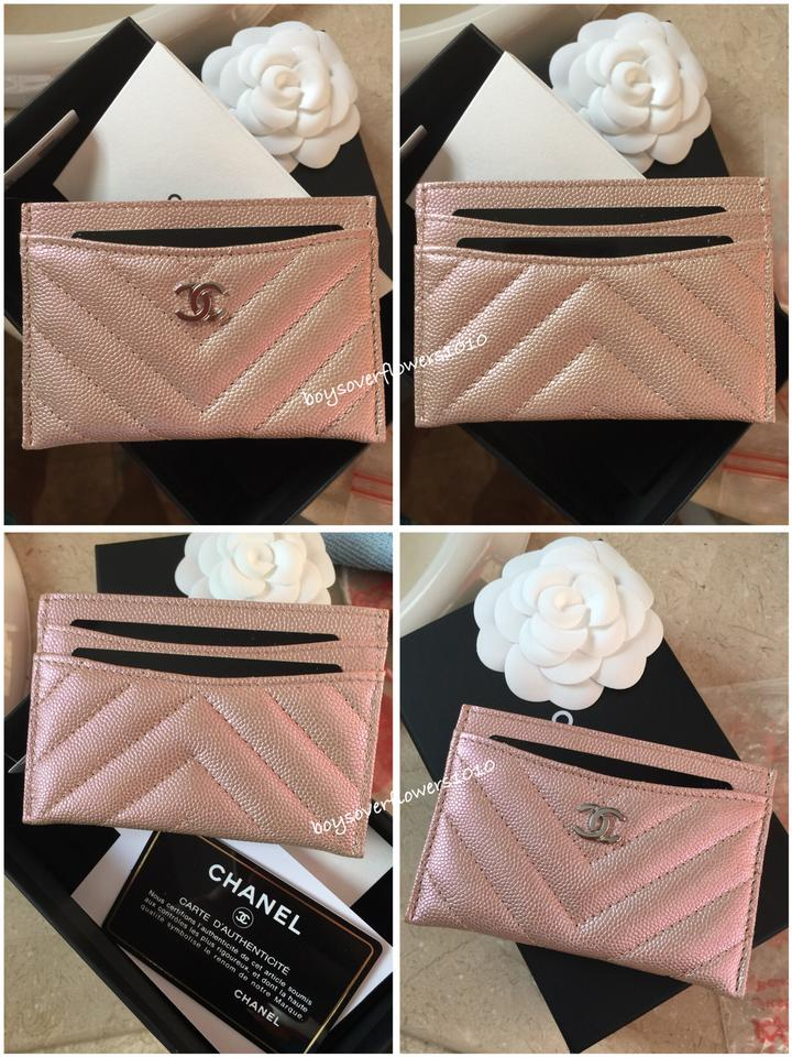 6c1be482de19 Chanel NIB Iridescent Light Gold Chevron Caviar Leather Flat Card Case  Wallet Image 11. 123456789101112