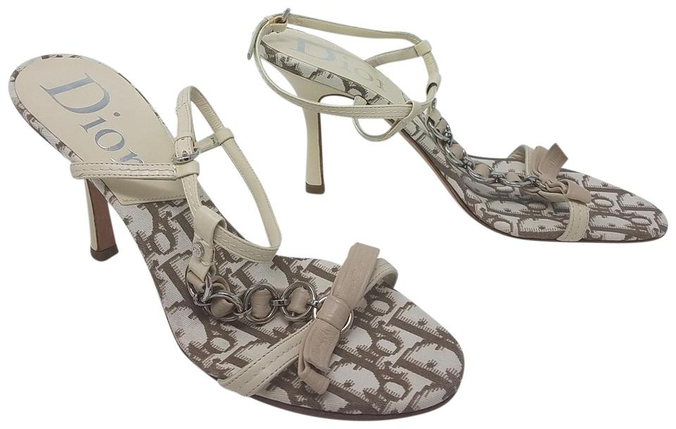 f08d3ed0806 Dior White Silver Creme Leather Monogram Print Strappy Sandals Size ...