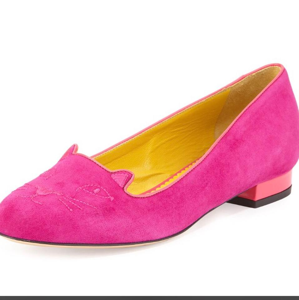 2eb3771ca06 Charlotte Olympia Fuchsia Kitty Embroidered Suede Perfect Purple Flats Size  US 11 Regular (M