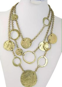 Other Gold Tone 3 Tier Hammered Disc Necklace