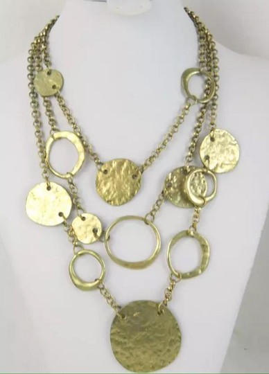 Other Gold Tone 3 Tier Hammered Disc Necklace Image 2