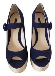 Forever 21 Striped Nautical Espadrille Blue & White Wedges