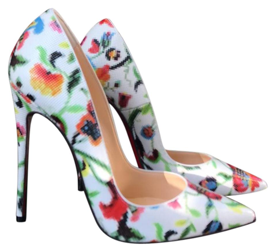 Christian Louboutin So Color Kate Mosaique White Multi Color So Stiletto Pumps 9581e8