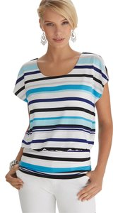 White House | Black Market Blouson Banded Bottom Stretchy Bra Keepers Striped Tunic