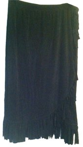 Chicos Travelers Skirt Black western style with criss cross and fringe at the bottom