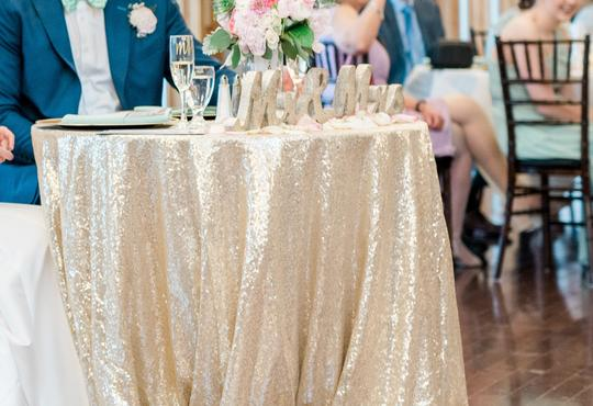 Champagne Gold Sequin | Table Decor Tablecloth Image 3