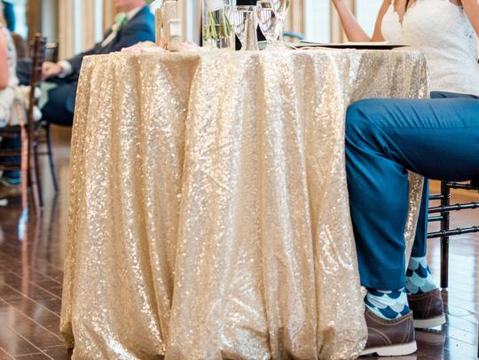 Champagne Gold Sequin | Table Decor Tablecloth Image 2