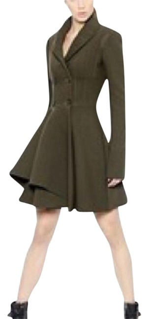 Item - Olive Asymmetric Fit-and-flare Coat Size 6 (S)