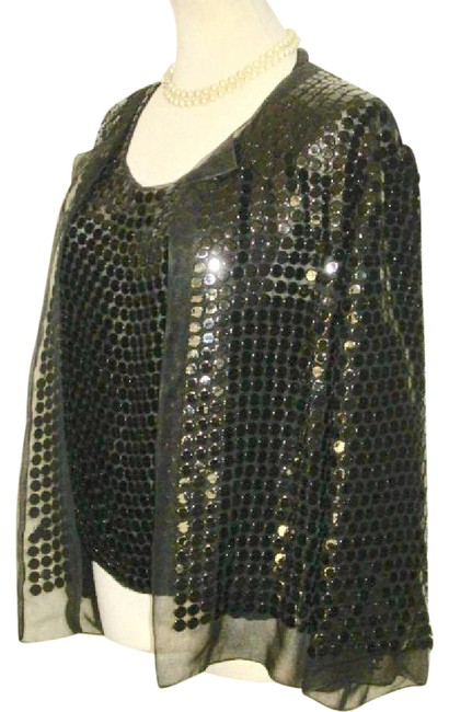Preload https://img-static.tradesy.com/item/21850498/chanel-black-all-spangles-silk-jacket-twinset-night-out-top-size-10-m-0-1-650-650.jpg