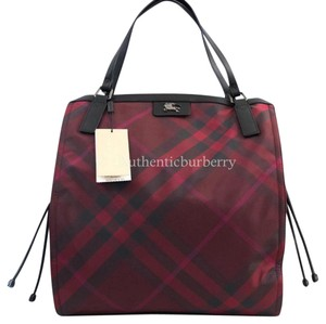 Burberry London Tote in bright burgundy