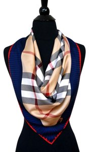 bf0b6fc69 Burberry Authentic Blue Border Red Burberry Beige Check Twill Silk Scarf