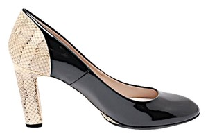 Chloe Pump Black w/Beige Snakeskin Pumps