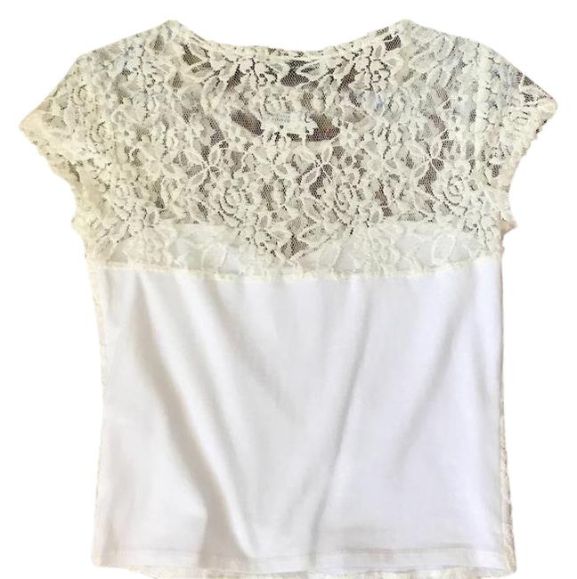 Abercrombie & Fitch White S Lace Cotton Crop Tee Shirt Size 4 (S) Abercrombie & Fitch White S Lace Cotton Crop Tee Shirt Size 4 (S) Image 1