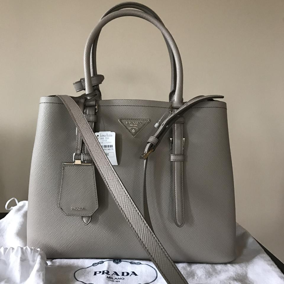 d1fdc16d4 Prada Double Cuir Md Light Gray Saffiano Leather Tote - Tradesy