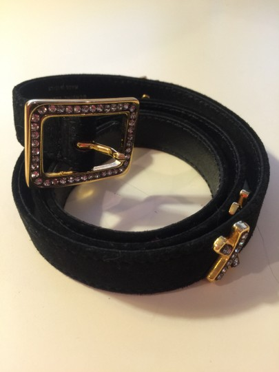 """Paloma Picasso Paloma Picasso black suede belt with rhinestones in gold x's & buckle 34"""" x 3/4"""""""