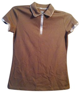 IZOD Xs/tp/xp 57% Cotton 43% Polyester Made In T Shirt tan or taupe polo with plaid trim