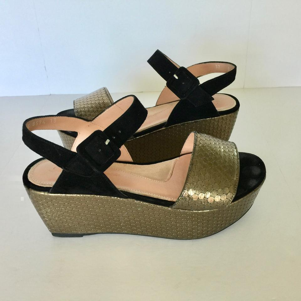 6b31fb081a68 Robert Clergerie Bronze   Black Leather Suede Leather Sandal ...