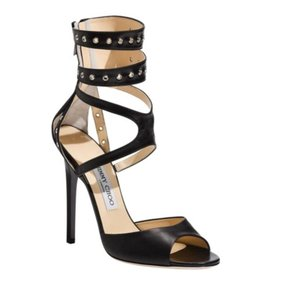 Jimmy Choo Ankle Strap Peep Toe Blade Hardware Black, Silver Sandals