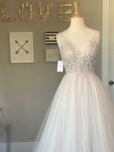 Watters Blush Illusion Tulle Ashby Beaded Motif Tulle Poly Lining Naomi Wedding Dress Size 10 (M)