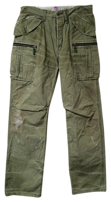 Item - Army Green Distressed Mens Men's Pants Guy Guys Cotton 36w 32l Cargo Jeans Size 36 (14, L)