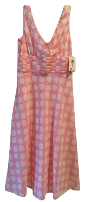 Item - Pink with White Polka Dot Francine Printed Dots #65316 Mid-length Night Out Dress Size 4 (S)