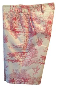 Tibi Exclusive Vintage Sea Island Bermuda Shorts White with Pink Toile Print