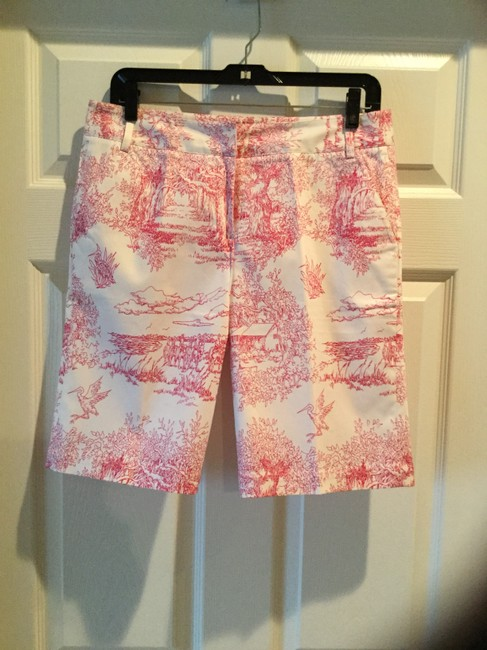 Tibi Exclusive Vintage Sea Island Bermuda Shorts White with Pink Toile Print Image 2