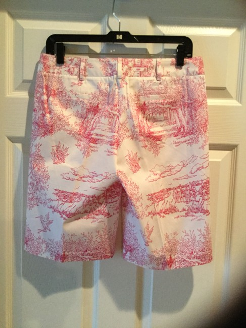 Tibi Exclusive Vintage Sea Island Bermuda Shorts White with Pink Toile Print Image 4