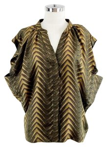 Patterson J. Kincaid Mustard Olive Silk Boxy Printed Top Green Gold