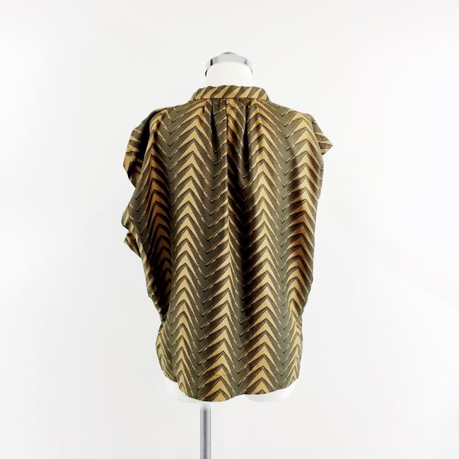 Patterson J. Kincaid Mustard Olive Silk Boxy Printed Top Green Gold Image 2