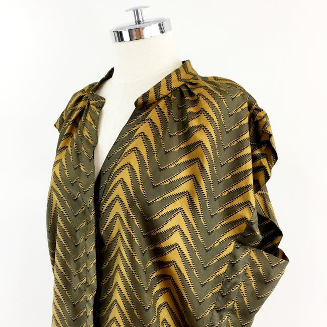 Patterson J. Kincaid Mustard Olive Silk Boxy Printed Top Green Gold Image 5