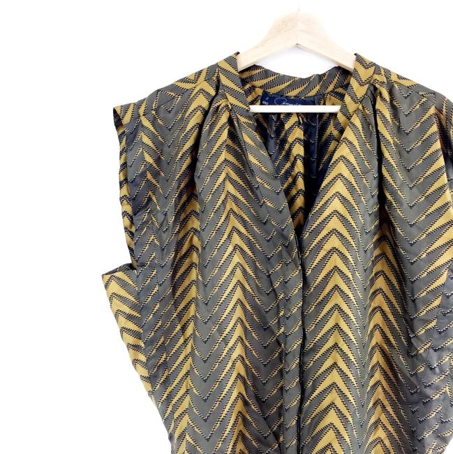 Patterson J. Kincaid Mustard Olive Silk Boxy Printed Top Green Gold Image 6