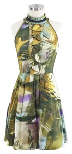Weston Wear short dress Green Yellow Silk Ruffle Tulle Printed Watercolor on Tradesy