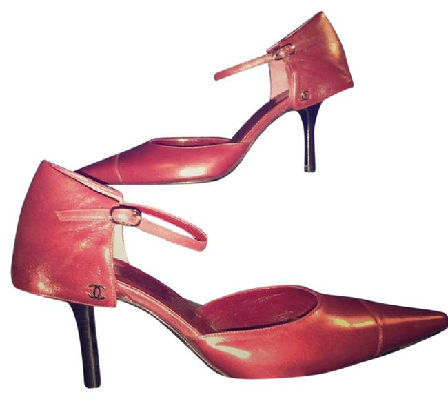 Item - Red Overlapped Ankle Strapped Pumps Size US 7.5 Regular (M, B)