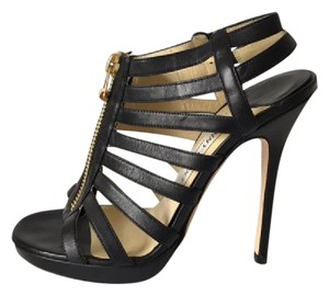 Jimmy Choo Cage Stilleto Zipper Black Sandals