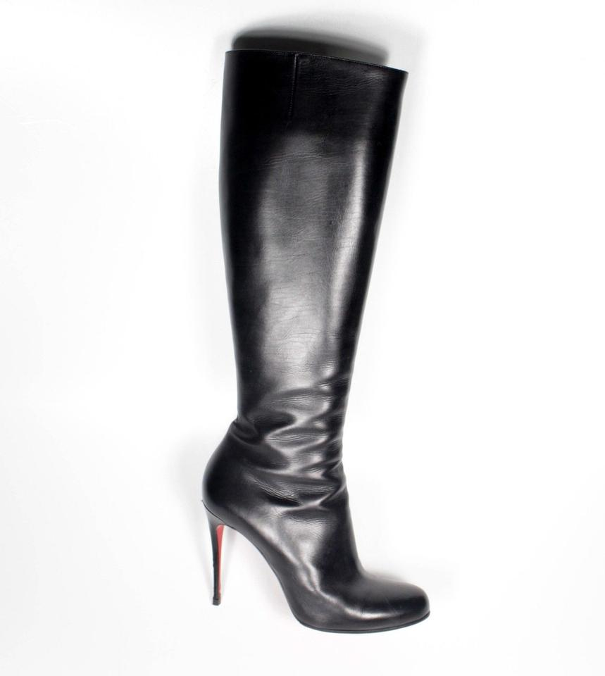 fb37fca2f32395 Christian Louboutin Leather Knee-high Heel Riding Black Boots Image 11.  123456789101112