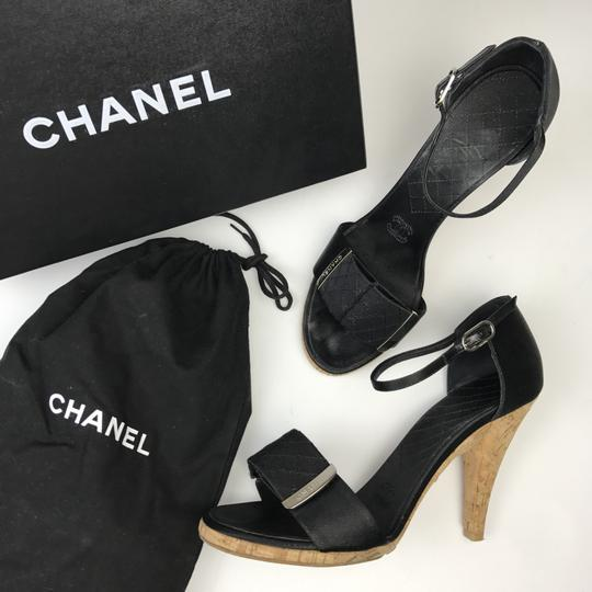 Chanel Satin Black Sandals Image 2