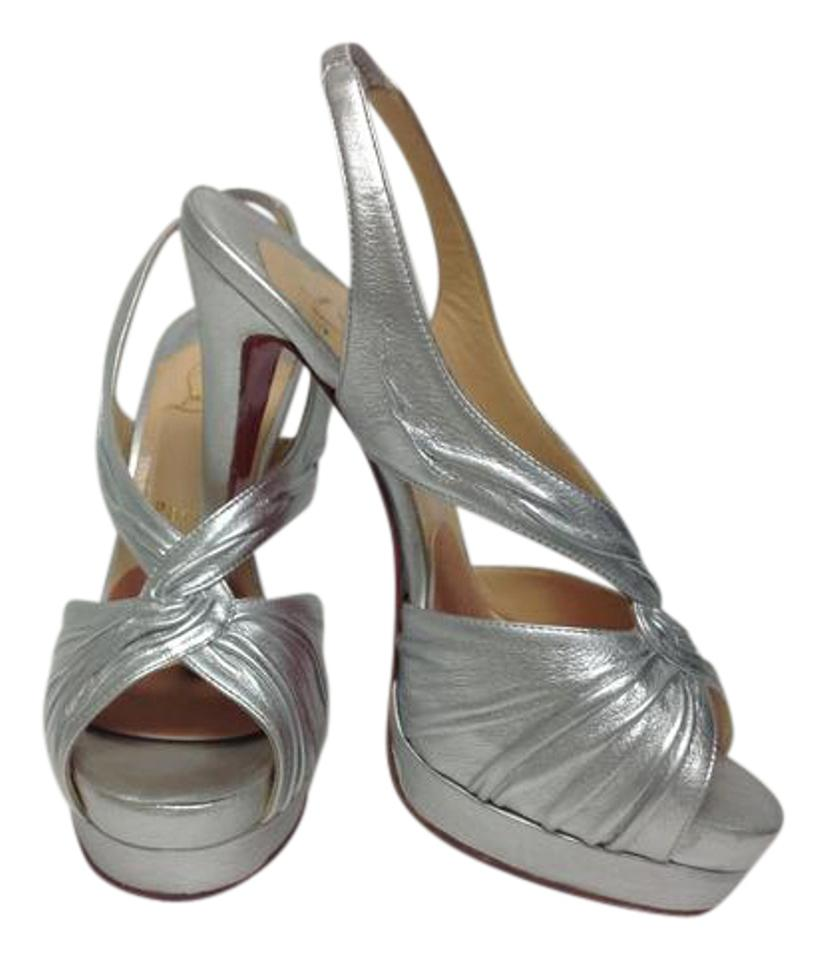 Christian Louboutin Silver Leather Platform Sandals Slingback with Front Twist Sandals Platform 483074