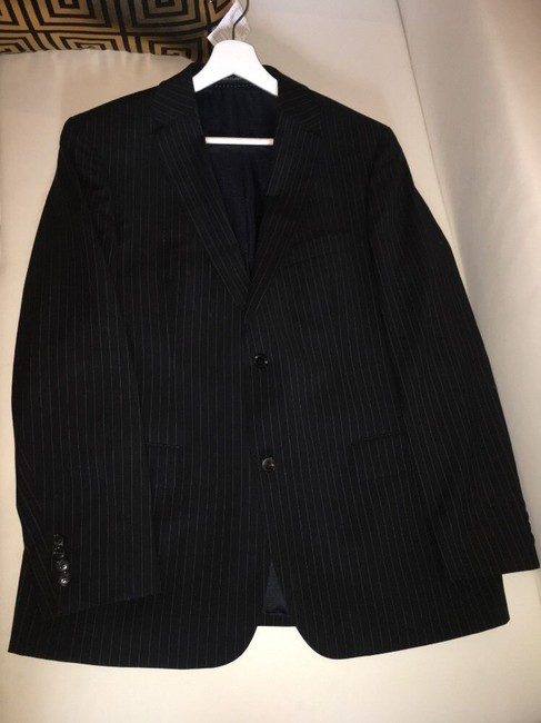 Hugo Boss Hugo Boss Mens Suit, 2 Button Black Pinstripe, 42R passini movie Long Image 1