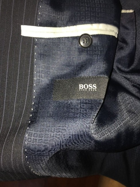 Hugo Boss Hugo Boss Mens Suit, 2 Button Black Pinstripe, 42R passini movie Long Image 4