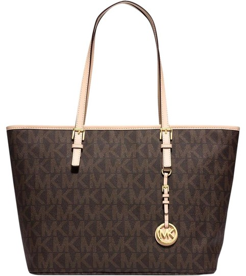 fc7795d4875a Michael Kors Jet Set Travel Signature Brown Pvc Tote - Tradesy